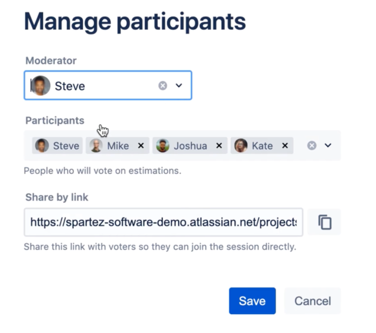 Manage participants and assign the session moderator